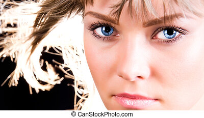 pelo, retrato, mujer, abrasador