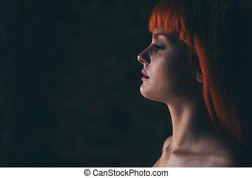pelo rojo, niña, retrato