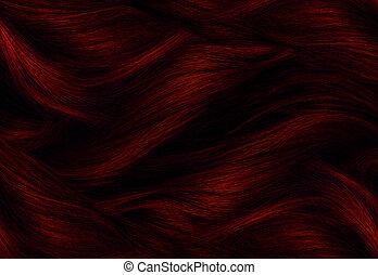 pelo, rojo, textura