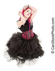 pelo rosa, niña, bailando