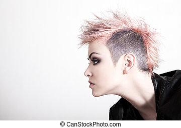pelo rosa, punk, joven, hembra
