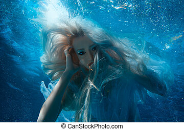 pelo, rubio, mujer, underwater., largo
