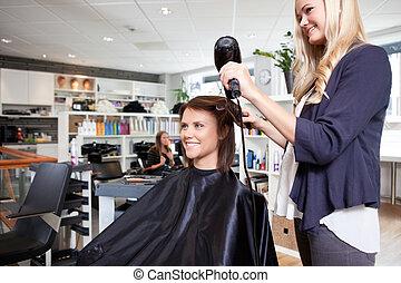 pelo, secado, customer's, peluquero
