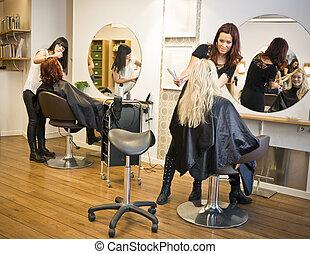 pelo, situación, salón
