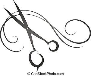 pelo, tijeras, s, belleza, señal