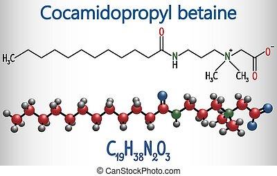 pelo, utilizado, champú, antistatic, (capb), molecule., molécula, él, cocamidopropyl, químico, cosméticos, conditioner., fórmula, modelo, betaine, estructural