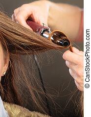 pelo, woman., curling, estilista, joven