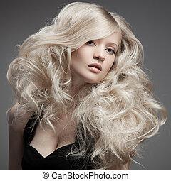 pelo, woman., rizado, rubio, largo, hermoso