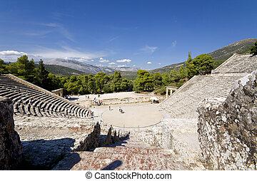 peloponnese, antico, epidaurus, anfiteatro, grecia