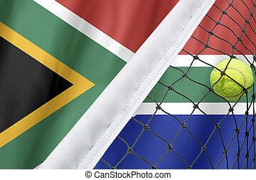 pelota, áfrica, fondo., bandera, red, ennis, sur