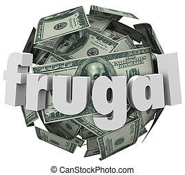 pelota, ahorro, gasto, barato, reducir, efectivo, frugal, dinero