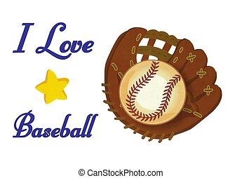 pelota, amor, foto, guante, beisball, ilustración, acción