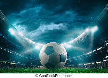 pelota, arriba, faros, iluminado, futbol, cierre, centro, estadio