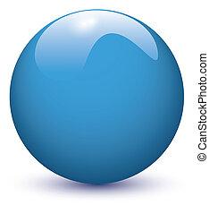 pelota azul, brillante
