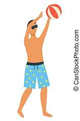 pelota azul, calzoncillos, inflable, aire libre, juego, hombre