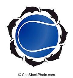 pelota azul, color, tenis, delfín, vector