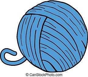 pelota azul, de, lana