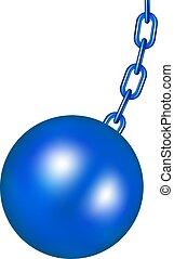 pelota azul, diseño, destruir