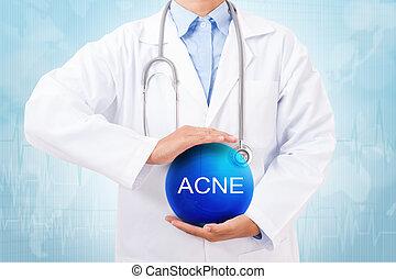 pelota azul, doctor, médico, acné, señal, cristal, fondo., tenencia