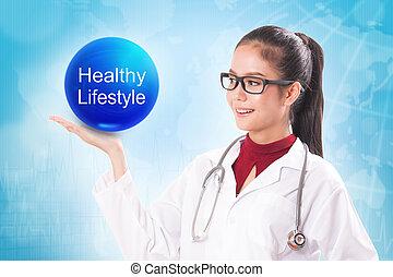 pelota azul, estilo de vida, tenencia, doctor, sano, muestra médica, cristal, fondo., hembra