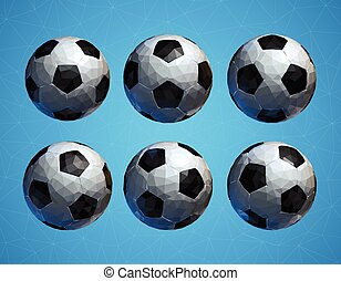 pelota azul, fútbol, poly, bajo, plano de fondo, futbol, 3d