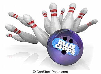 pelota azul, meta, cima, ilustración, prioridad, huelga, alfileres de bolos, pedacitos, compañía, 3d