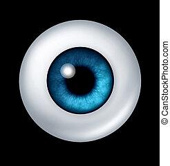 pelota azul, ojo, humano