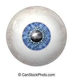 pelota azul, ojo