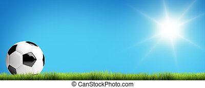 pelota azul, render, cielo, fútbol, soleado, plano de fondo, 3d