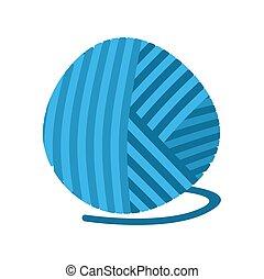 pelota azul, tejido de punto, aislado, hilo, lío, lana, threads.