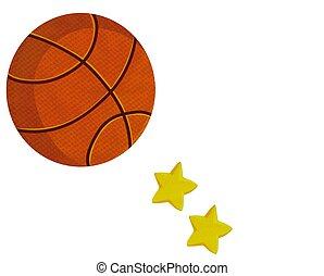 pelota, baloncesto, estrellas, ilustración, acción