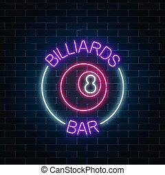 pelota, barra, fondo., pared, símbolo, billar, letrero de gas de neón, number., encendido, billiard, publicidad, noche, 8, ladrillo