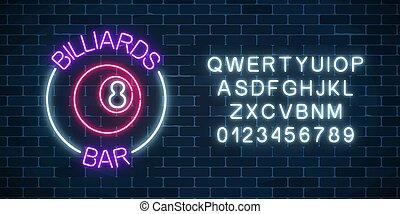 pelota, barra, pared, alfabeto, billar, letrero de gas de neón, fondo., encendido, billiard, number., 8, ladrillo