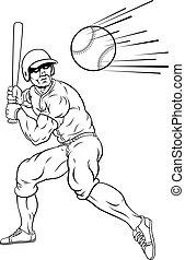 pelota, beisball, balanceo, corra, jugador, murciélago, ...