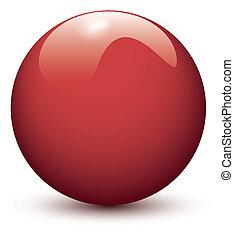 pelota, brillante, rojo