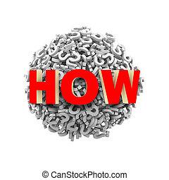 pelota, cómo, signo de interrogación, esfera, 3d