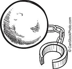 pelota cadena, bosquejo