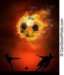 pelota, caliente, fuegos, llama, futbol, velocidad