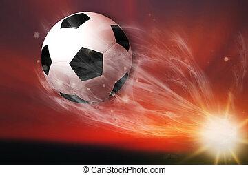 pelota, campo, futbol, vuelo, fútbol