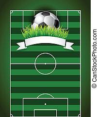 pelota, campode fútbol, fondo verde, futbol, presentación