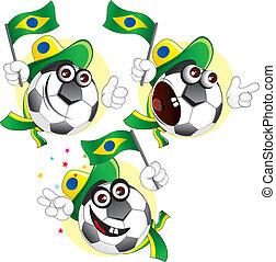 pelota, caricatura, brasileño