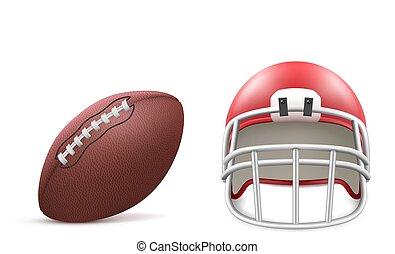 pelota, casco, blanco, aislado, rugby, plano de fondo