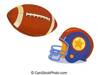 pelota, casco, fútbol, ilustración, acción