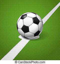 pelota, centro, campo, juego, futbol, acostado