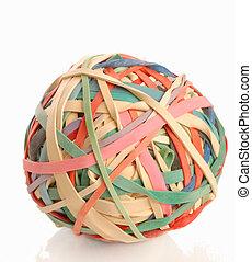pelota, colorido, elástico, bandas, caucho, hecho, o