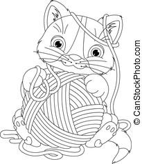 pelota, colorido, página, hilo, gatito
