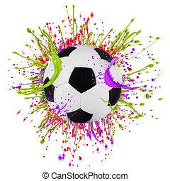 pelota, colorido, salpicar, aislado, blanco, futbol