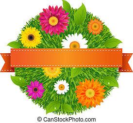 pelota, con, flores