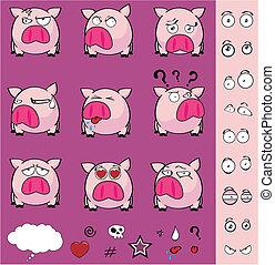 pelota, conjunto, caricatura, cerdo