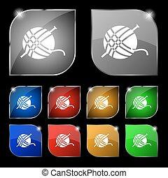 pelota, conjunto, colorido, diez, signo., glare., hilo, botones, vector, icono